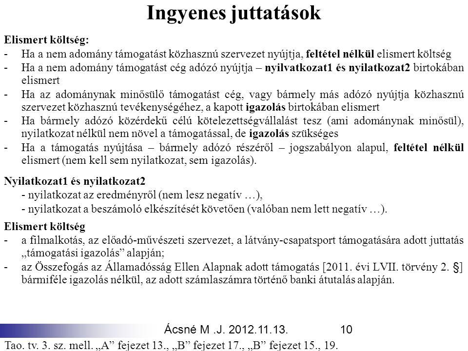 Ácsné M.J. 2012.11.13.10 Ingyenes juttatások Elismert költség: -Ha a nem adomány támogatást közhasznú szervezet nyújtja, feltétel nélkül elismert költ