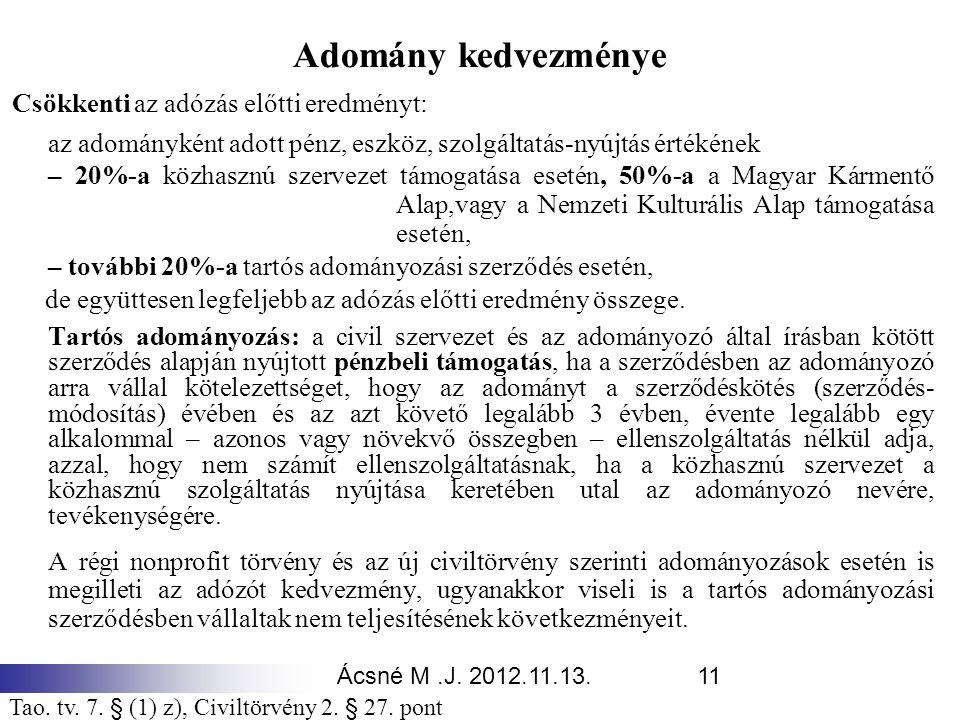 Ácsné M.J. 2012.11.13.11 Adomány kedvezménye Csökkenti az adózás előtti eredményt: az adományként adott pénz, eszköz, szolgáltatás-nyújtás értékének –