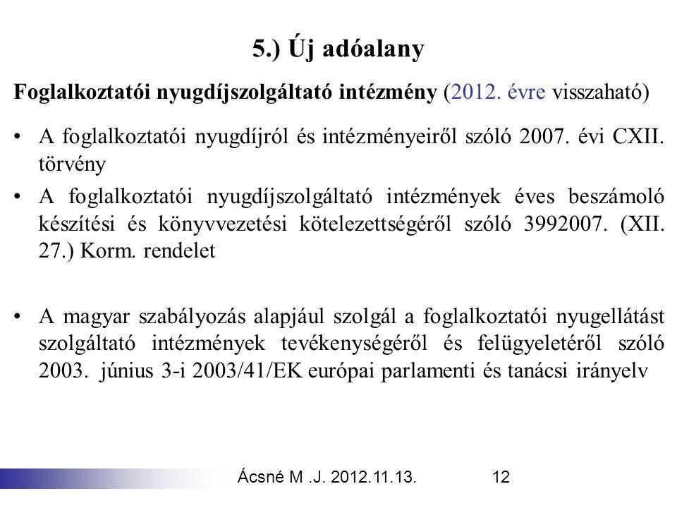Ácsné M.J. 2012.11.13.12 5.) Új adóalany Foglalkoztatói nyugdíjszolgáltató intézmény (2012. évre visszaható) A foglalkoztatói nyugdíjról és intézménye