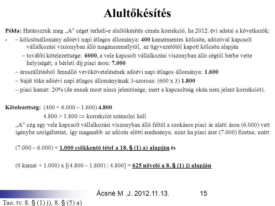 """Ácsné M.J. 2012.11.13.15 Alultőkésítés Példa: Határozzuk meg """"A"""" céget terheli-e alultőkésítés címén korrekció, ha 2012. évi adatai a következők: - –"""