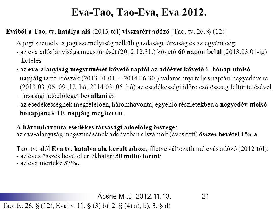 Ácsné M.J. 2012.11.13.21 Eva-Tao, Tao-Eva, Eva 2012. Evából a Tao. tv. hatálya alá (2013-tól) visszatért adózó [Tao. tv. 26. § (12)] A jogi személy, a