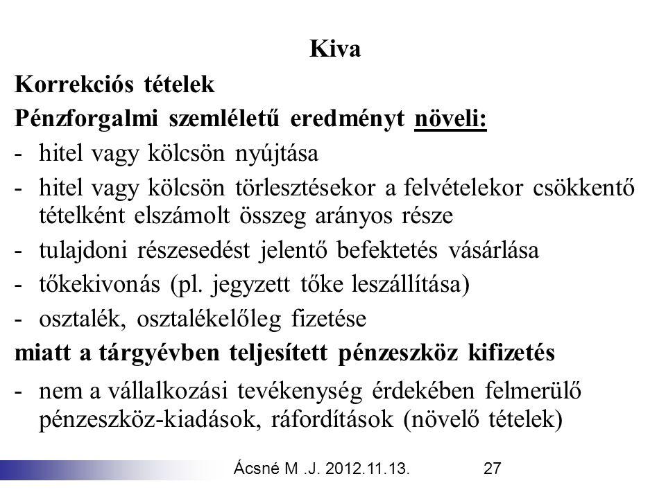 Ácsné M.J. 2012.11.13.27 Kiva Korrekciós tételek Pénzforgalmi szemléletű eredményt növeli: -hitel vagy kölcsön nyújtása -hitel vagy kölcsön törlesztés