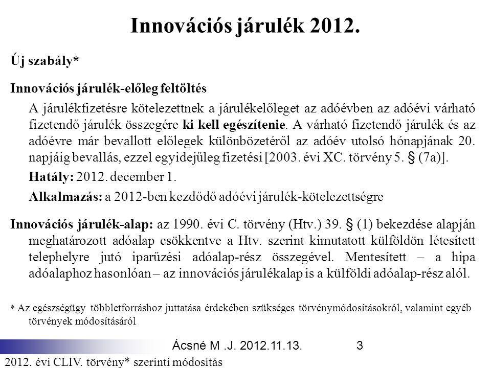 Ácsné M.J. 2012.11.13.3 Innovációs járulék 2012. Új szabály* Innovációs járulék-előleg feltöltés A járulékfizetésre kötelezettnek a járulékelőleget az