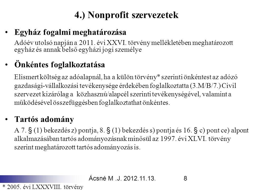 Ácsné M.J. 2012.11.13.8 4.) Nonprofit szervezetek Egyház fogalmi meghatározása Adóév utolsó napján a 2011. évi XXVI. törvény mellékletében meghatározo