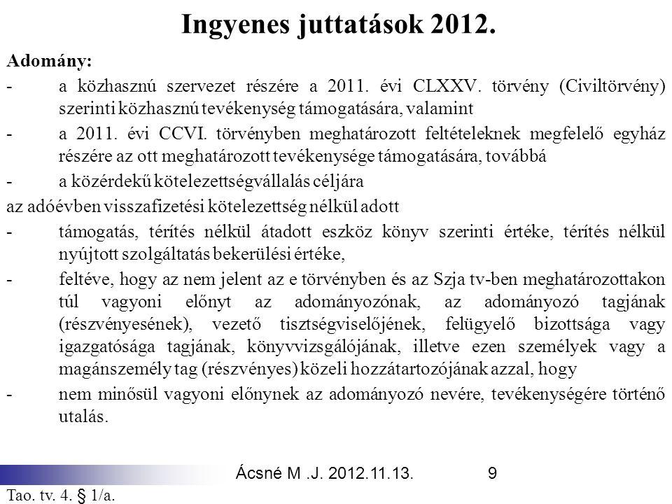 Ácsné M.J. 2012.11.13.9 Ingyenes juttatások 2012. Adomány: -a közhasznú szervezet részére a 2011. évi CLXXV. törvény (Civiltörvény) szerinti közhasznú