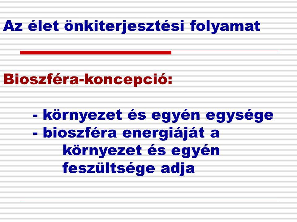 Az élet önkiterjesztési folyamat Bioszféra-koncepció: - környezet és egyén egysége - bioszféra energiáját a környezet és egyén feszültsége adja