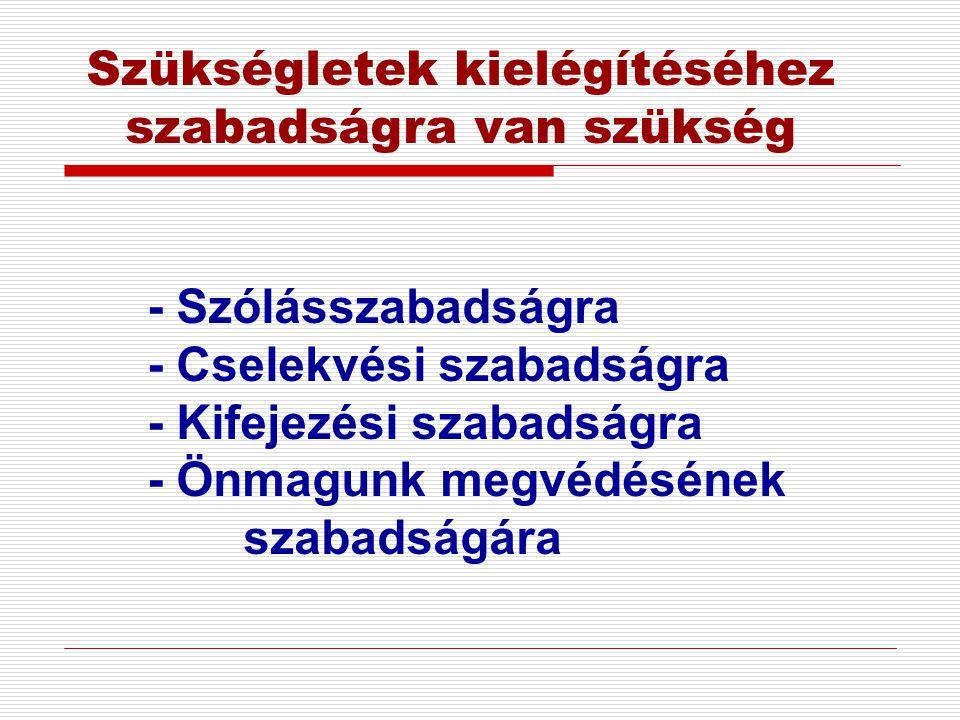 Szükségletek kielégítéséhez szabadságra van szükség - Szólásszabadságra - Cselekvési szabadságra - Kifejezési szabadságra - Önmagunk megvédésének szab