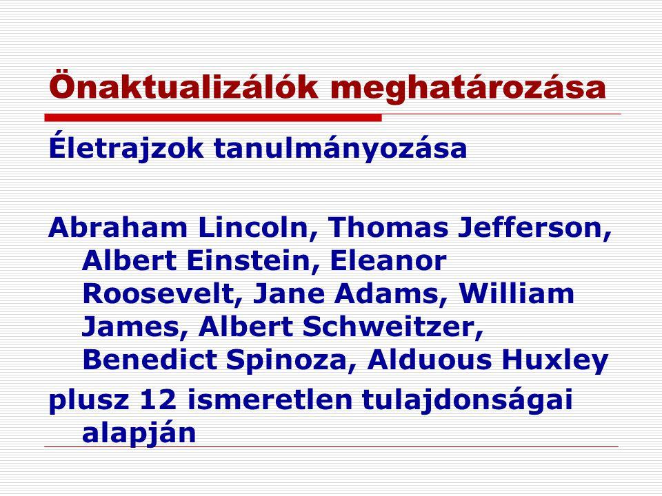 Önaktualizálók meghatározása Életrajzok tanulmányozása Abraham Lincoln, Thomas Jefferson, Albert Einstein, Eleanor Roosevelt, Jane Adams, William Jame