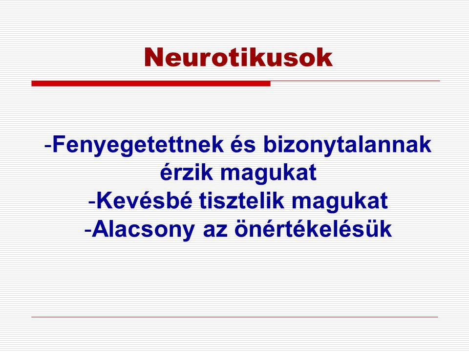 Neurotikusok -Fenyegetettnek és bizonytalannak érzik magukat -Kevésbé tisztelik magukat -Alacsony az önértékelésük