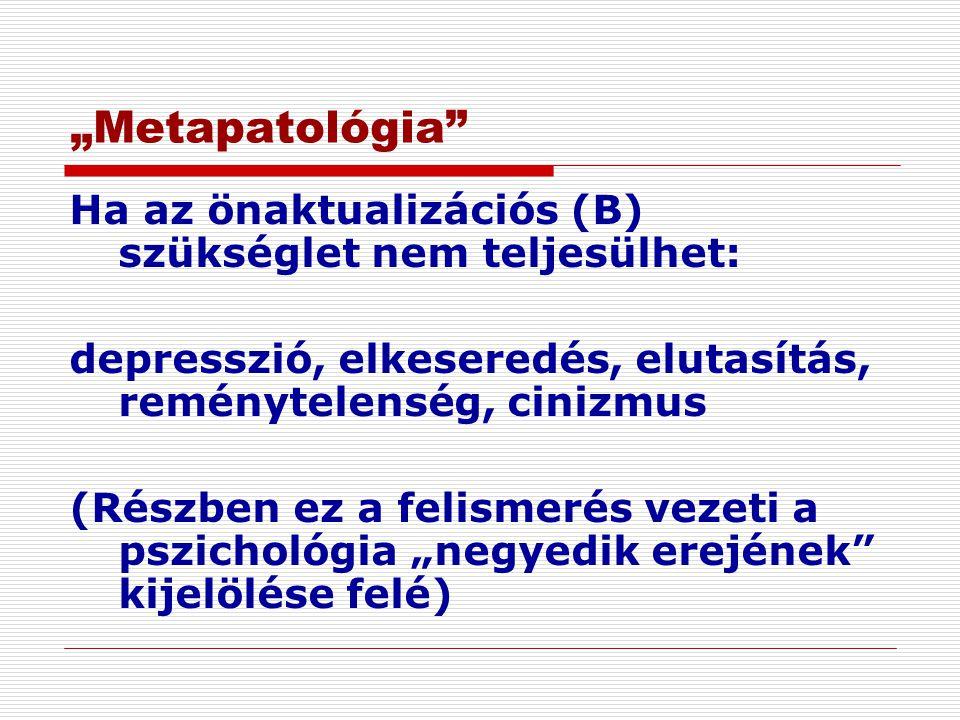 """""""Metapatológia"""" Ha az önaktualizációs (B) szükséglet nem teljesülhet: depresszió, elkeseredés, elutasítás, reménytelenség, cinizmus (Részben ez a feli"""