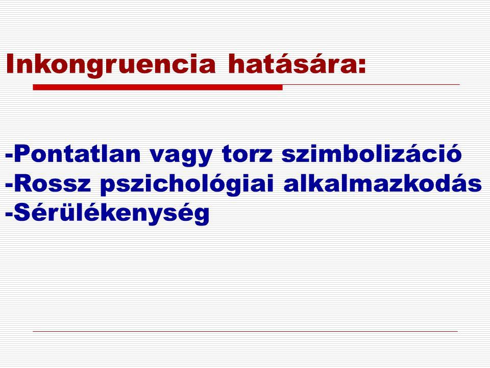 Inkongruencia hatására: -Pontatlan vagy torz szimbolizáció -Rossz pszichológiai alkalmazkodás -Sérülékenység