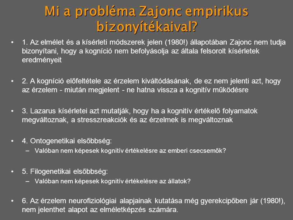 Mi a probléma Zajonc empirikus bizonyítékaival? 1. Az elmélet és a kísérleti módszerek jelen (1980!) állapotában Zajonc nem tudja bizonyítani, hogy a