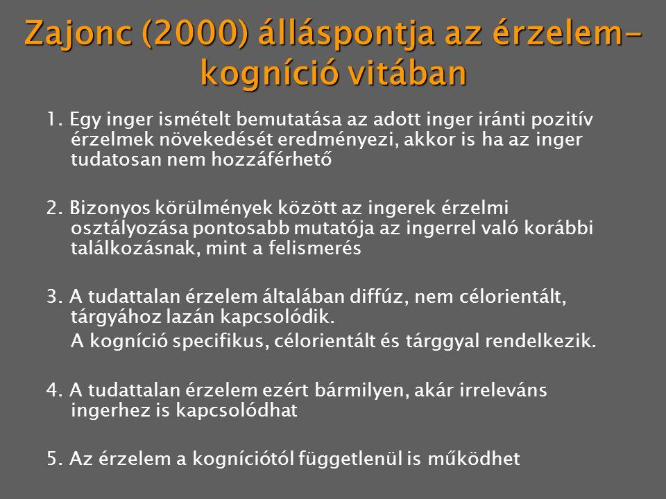 Zajonc (2000) álláspontja az érzelem- kogníció vitában 1. Egy inger ismételt bemutatása az adott inger iránti pozitív érzelmek növekedését eredményezi