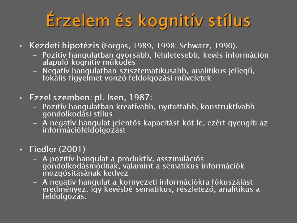 Érzelem és kognitív stílus Kezdeti hipotézis (Forgas, 1989, 1998; Schwarz, 1990). –Pozitív hangulatban gyorsabb, felületesebb, kevés információn alapu