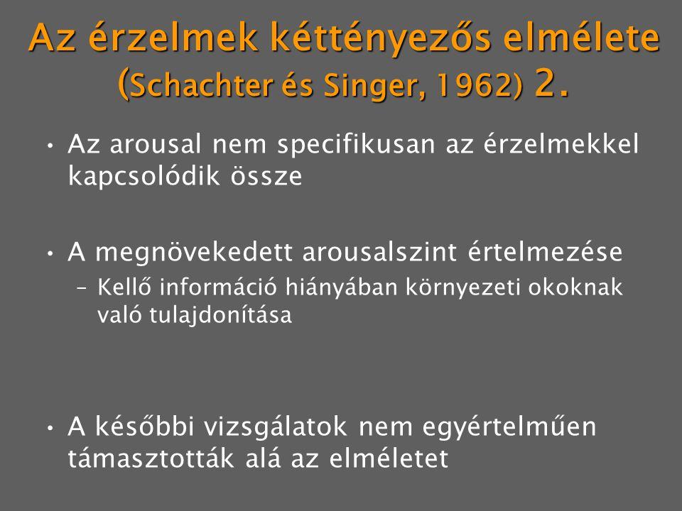 Az érzelmek kéttényezős elmélete ( Schachter és Singer, 1962) 2. Az arousal nem specifikusan az érzelmekkel kapcsolódik össze A megnövekedett arousals
