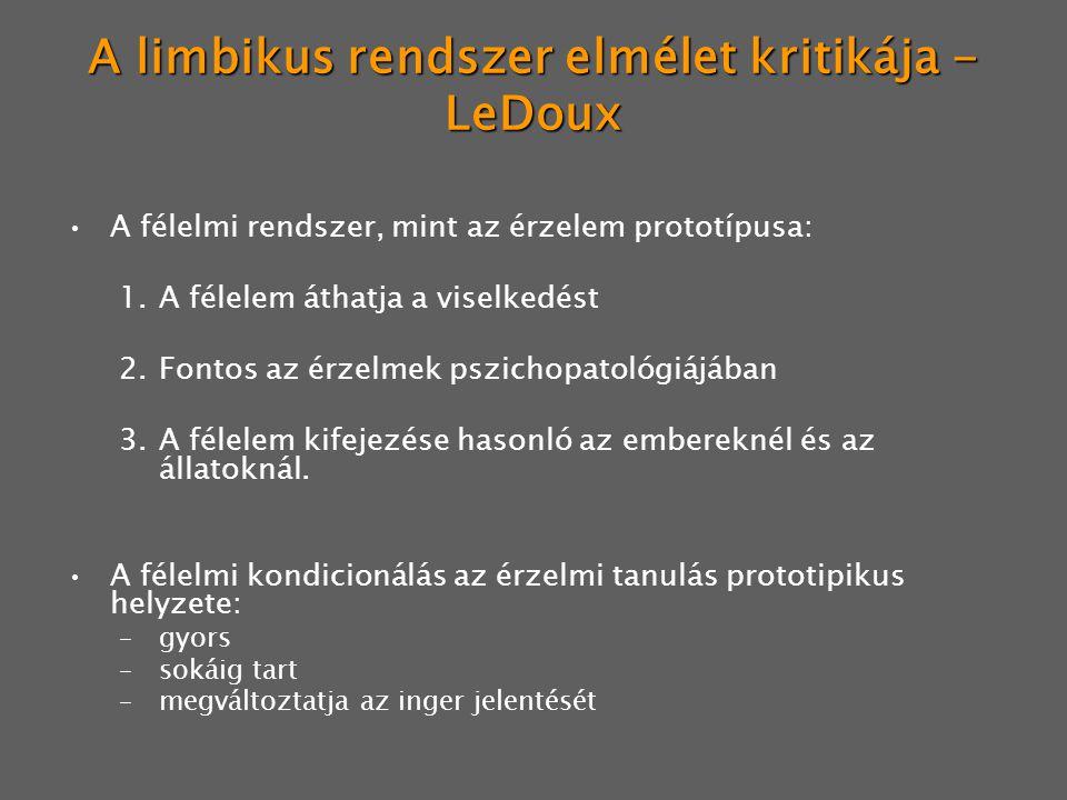 A limbikus rendszer elmélet kritikája - LeDoux A félelmi rendszer, mint az érzelem prototípusa: 1.A félelem áthatja a viselkedést 2.Fontos az érzelmek