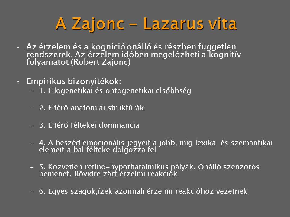 A Zajonc - Lazarus vita Az érzelem és a kogníció önálló és részben független rendszerek. Az érzelem időben megelőzheti a kognitív folyamatot (Robert Z