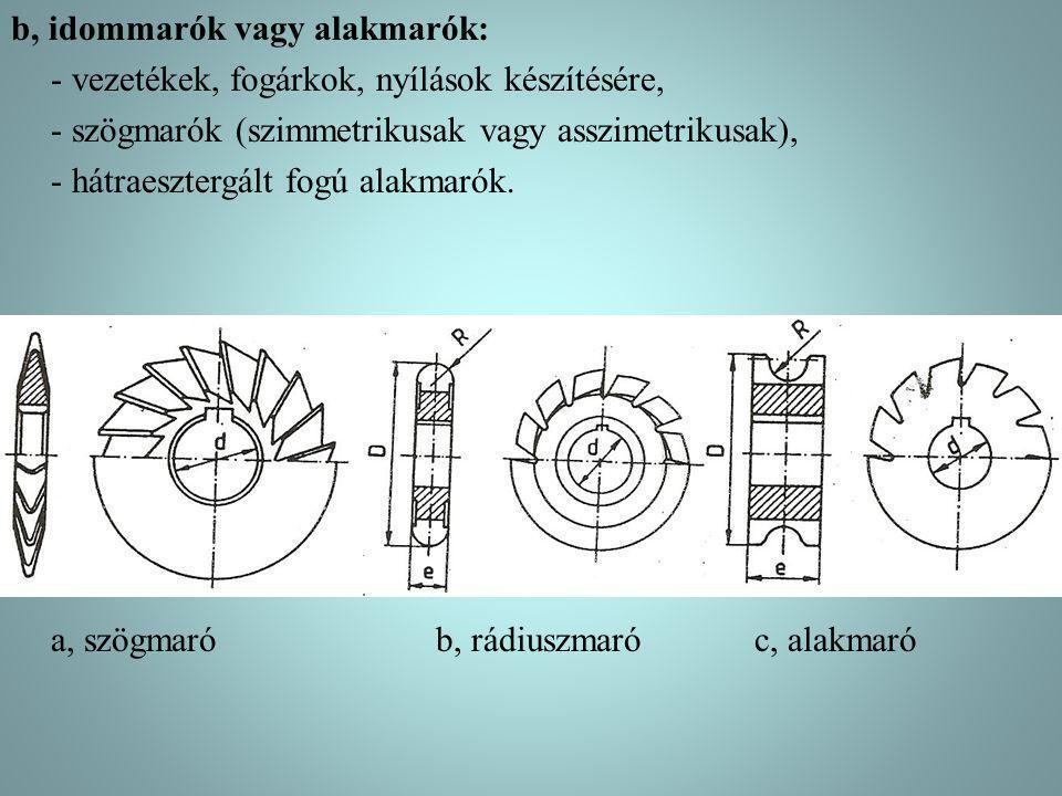 b, idommarók vagy alakmarók: - vezetékek, fogárkok, nyílások készítésére, - szögmarók (szimmetrikusak vagy asszimetrikusak), - hátraesztergált fogú al