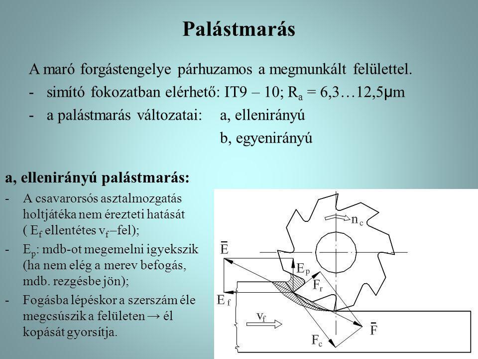 A palástmarás jellegzetes szerszámai a, tárcsamarók (d=40…180mm): - hornyok, hasítékok marására, - homlokpalást marók, mindkét oldalukon forgácsoló élekkel rendelkeznek, - egyenes-, ferde-, kereszt-élűek; monolit vagy szerelt kivitelűek, - keskeny tárcsamarók: fűrésztárcsák (d=25…315mm); körfűrészek (d=315…1250mm) Tárcsamaró: