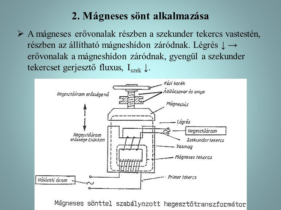 2. Mágneses sönt alkalmazása  A mágneses erővonalak részben a szekunder tekercs vastestén, részben az állítható mágneshídon záródnak. Légrés ↓ → erőv