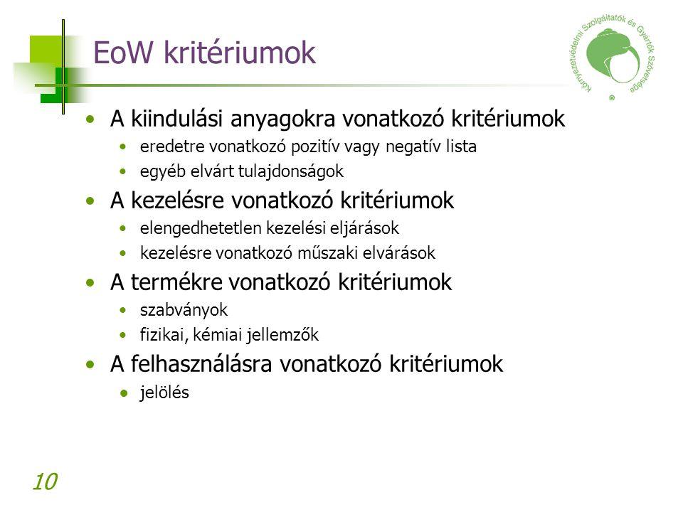 10 EoW kritériumok A kiindulási anyagokra vonatkozó kritériumok eredetre vonatkozó pozitív vagy negatív lista egyéb elvárt tulajdonságok A kezelésre v