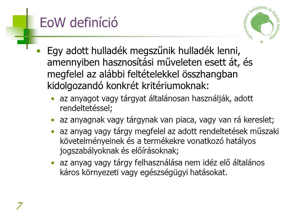 7 EoW definíció Egy adott hulladék megszűnik hulladék lenni, amennyiben hasznosítási műveleten esett át, és megfelel az alábbi feltételekkel összhangb