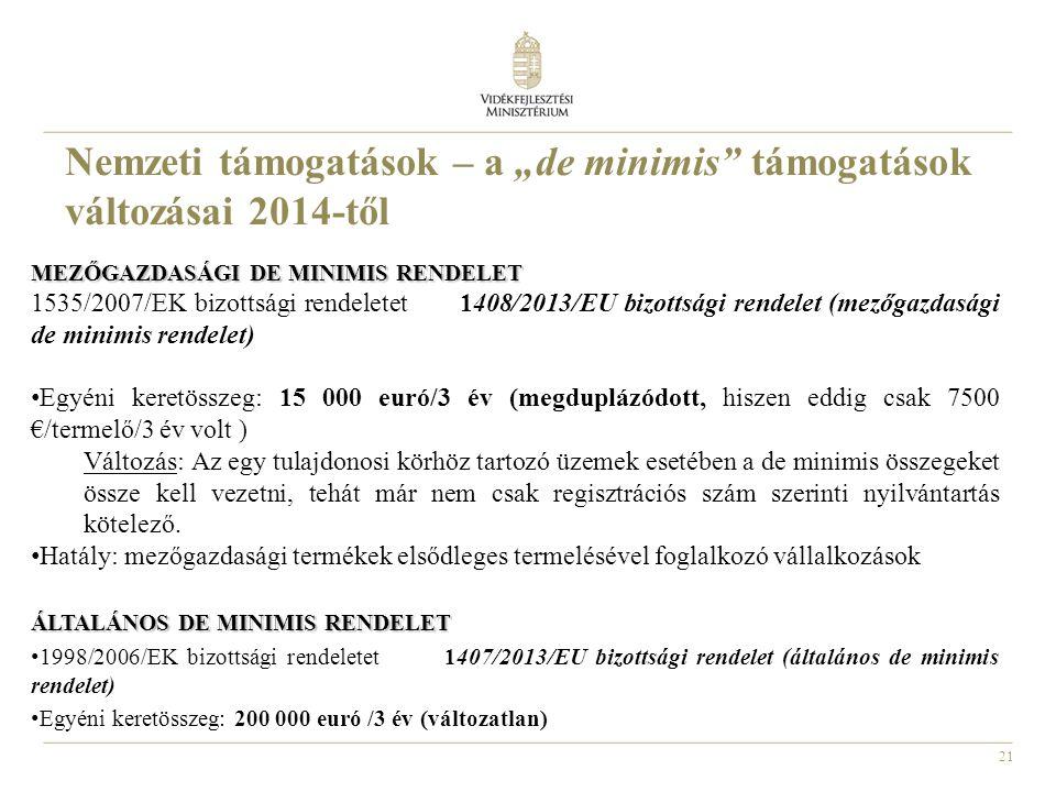 21 MEZŐGAZDASÁGI DE MINIMIS RENDELET 1535/2007/EK bizottsági rendeletet 1408/2013/EU bizottsági rendelet (mezőgazdasági de minimis rendelet) Egyéni ke