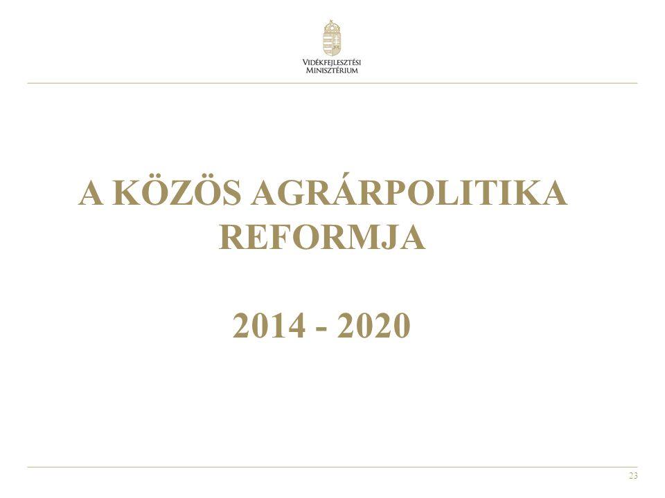 23 A KÖZÖS AGRÁRPOLITIKA REFORMJA 2014 - 2020
