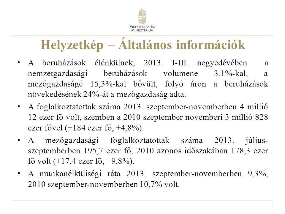 4 Helyzetkép – Általános információk A beruházások élénkülnek, 2013. I-III. negyedévében a nemzetgazdasági beruházások volumene 3,1%-kal, a mezőgazdas