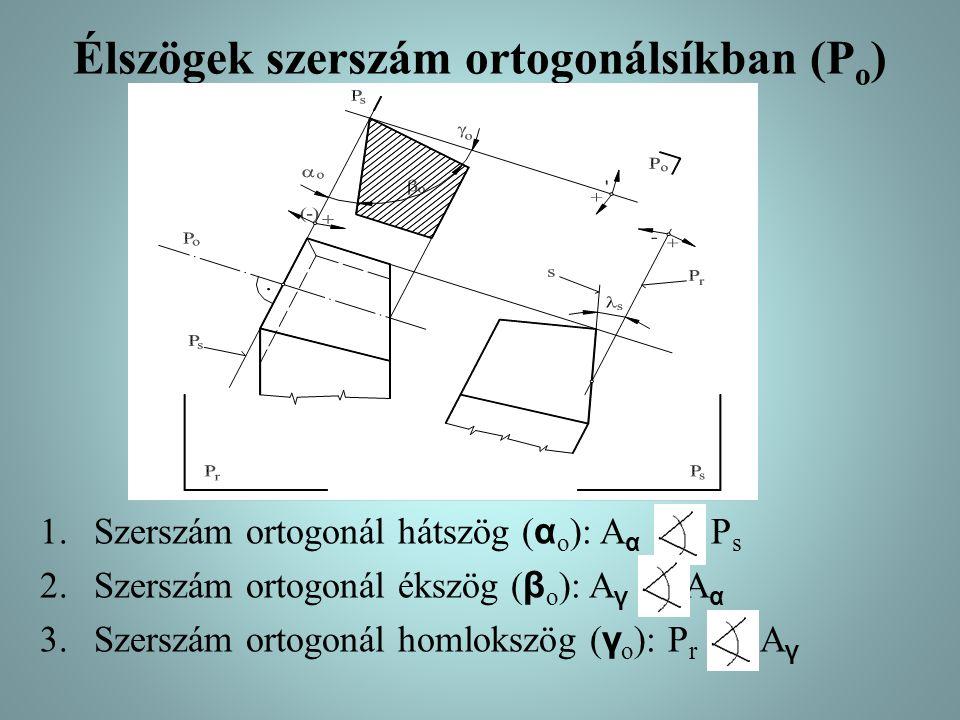Élszögek szerszám ortogonálsíkban (P o ) 1.Szerszám ortogonál hátszög ( α o ): A α P s 2.Szerszám ortogonál ékszög ( β o ): A γ A α 3.Szerszám ortogonál homlokszög ( γ o ): P r A γ