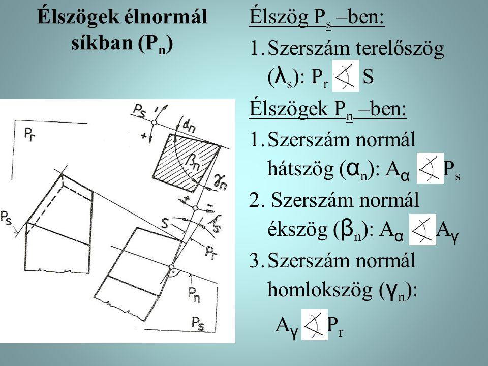 Élszögek élnormál síkban (P n ) Élszög P s –ben: 1.Szerszám terelőszög ( λ s ): P r S Élszögek P n –ben: 1.Szerszám normál hátszög ( α n ): A α P s 2.