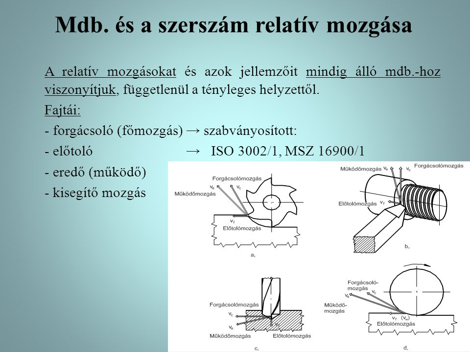 Forgácsoló mozgás 1.Forgácsoló mozgás: olyan relatív mozgás a mdb.