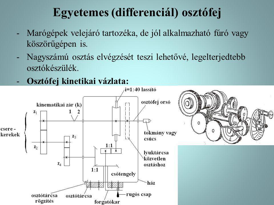 Egyetemes (differenciál) osztófej -Marógépek velejáró tartozéka, de jól alkalmazható fúró vagy köszörűgépen is.