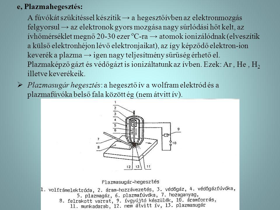 e, Plazmahegesztés: A fúvókát szűkítéssel készítik → a hegesztőívben az elektronmozgás felgyorsul → az elektronok gyors mozgása nagy súrlódási hőt kelt, az ívhőmérséklet megnő 20-30 ezer o C-ra → atomok ionizálódnak (elveszítik a külső elektronhéjon lévő elektronjaikat), az így képződő elektron-ion keverék a plazma → igen nagy teljesítmény sűrűség érhető el.