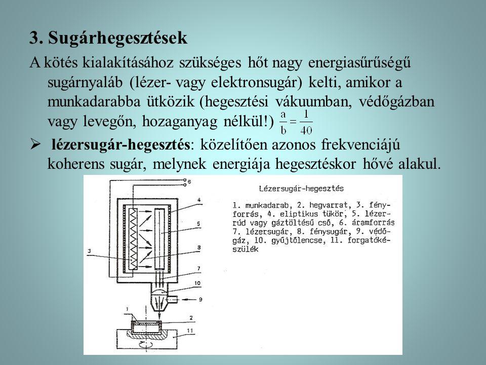 3. Sugárhegesztések A kötés kialakításához szükséges hőt nagy energiasűrűségű sugárnyaláb (lézer- vagy elektronsugár) kelti, amikor a munkadarabba ütk