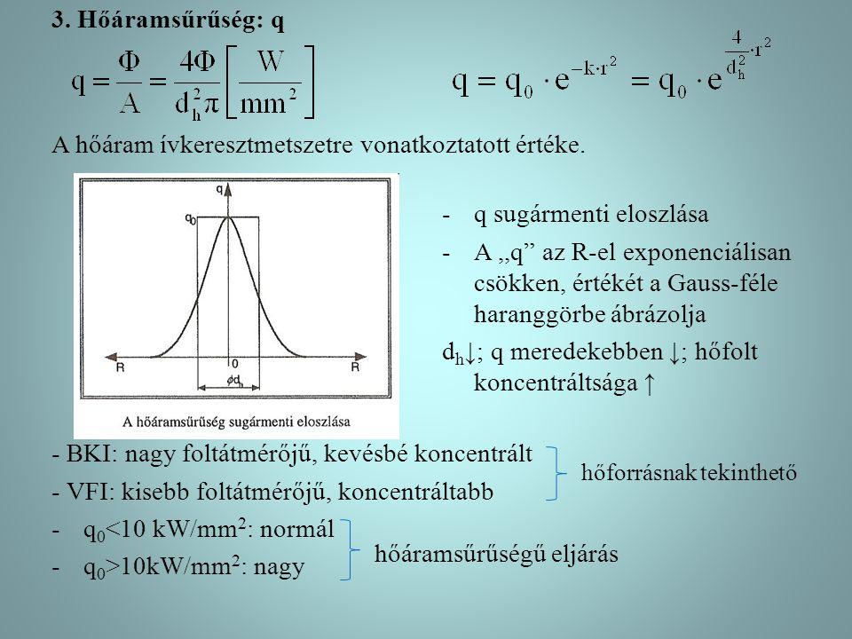3.Hőáramsűrűség: q A hőáram ívkeresztmetszetre vonatkoztatott értéke.