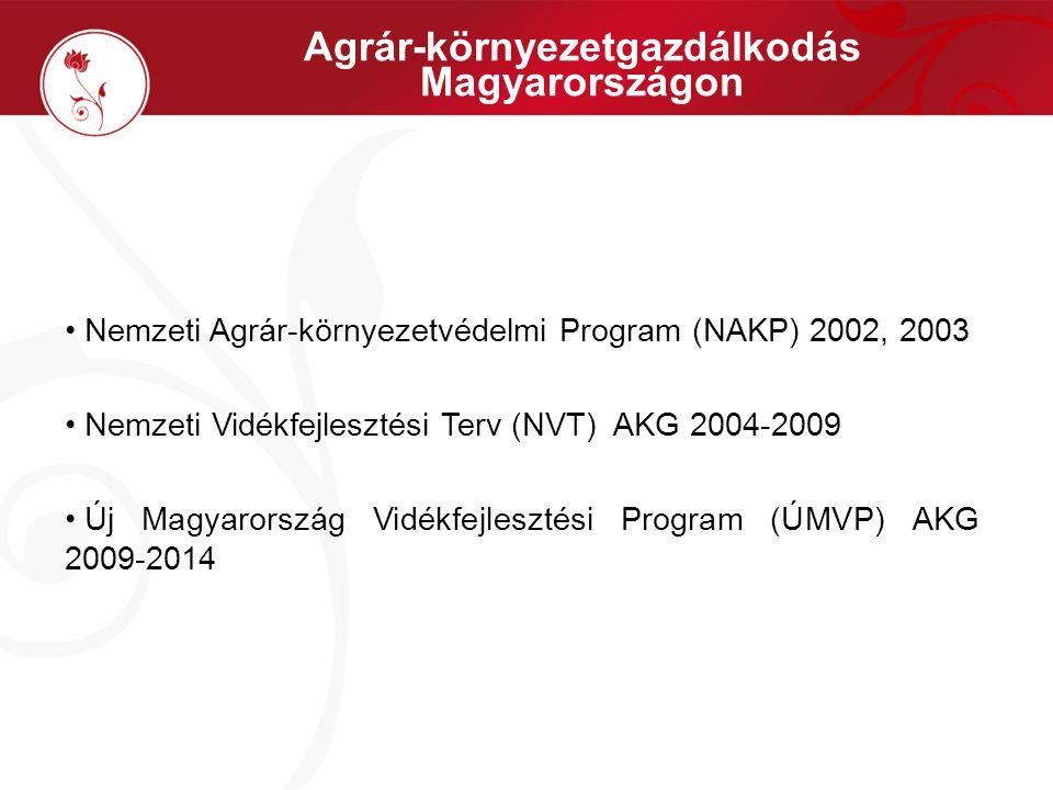 Agrár-környezetgazdálkodás Magyarországon Nemzeti Agrár-környezetvédelmi Program (NAKP) 2002, 2003 Nemzeti Vidékfejlesztési Terv (NVT) AKG 2004-2009 Új Magyarország Vidékfejlesztési Program (ÚMVP) AKG 2009-2014