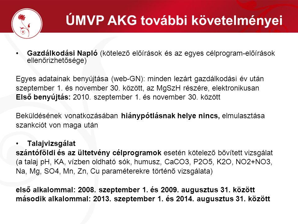 ÚMVP AKG további követelményei Gazdálkodási Napló (kötelező előírások és az egyes célprogram-előírások ellenőrizhetősége) Egyes adatainak benyújtása (web-GN): minden lezárt gazdálkodási év után szeptember 1.