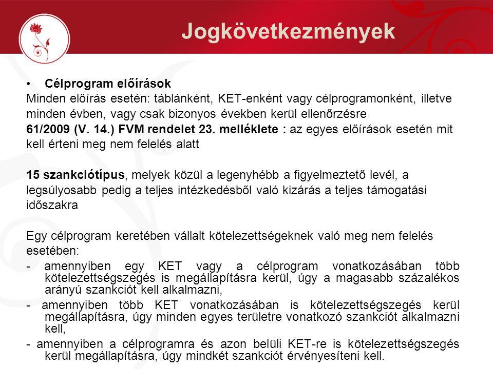 Jogkövetkezmények Célprogram előírások Minden előírás esetén: táblánként, KET-enként vagy célprogramonként, illetve minden évben, vagy csak bizonyos években kerül ellenőrzésre 61/2009 (V.
