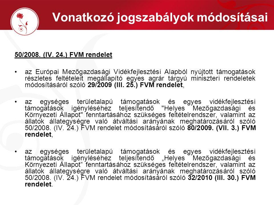 Vonatkozó jogszabályok módosításai 50/2008. (IV.