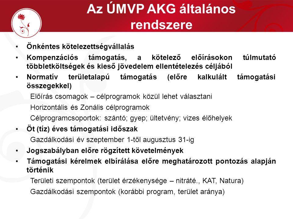 Az ÚMVP AKG általános rendszere Támogatás felépítése valamennyi célprogram esetén Jogosultsági feltételek A támogatási időszak alatt végig fennálló kritériumok Az adott gazdálkodási évben fennálló kritériumok Kötelezettségek Teljes gazdaság területén betartandó előírások (pl.: gazdálkodási napló vezetése) A célprogramba bevitt területen a célprogram előírásainak betartása (pl.: talajmintavétel; környezetkímélő vegyszerhasználat; kaszálási szabályok) Egyéb kötelezettségek (pl.: kötelező képzésen való részvétel) Támogatási összegek Előre meghatározott összegek, melyek az adott évi hasznosításhoz igazodtak (pl.: zöldségnövény termesztés)
