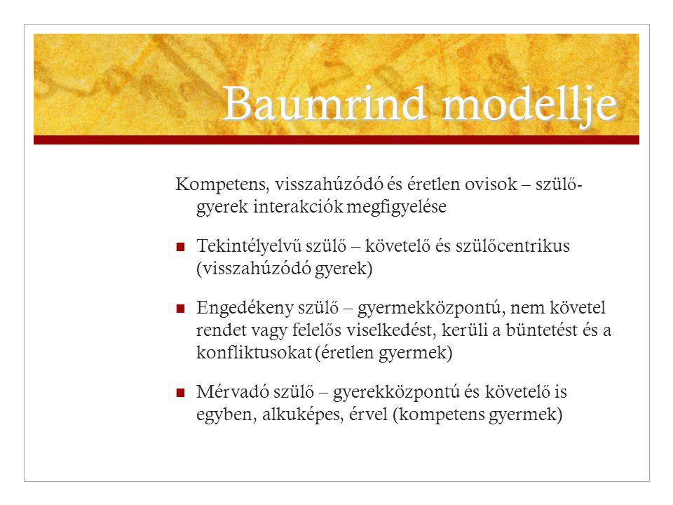 Baumrind modellje Kompetens, visszahúzódó és éretlen ovisok – szül ő - gyerek interakciók megfigyelése Tekintélyelv ű szül ő – követel ő és szül ő cen