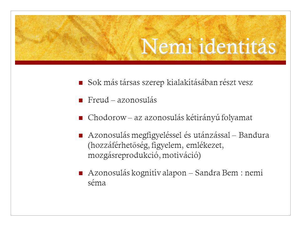 Nemi identitás Sok más társas szerep kialakításában részt vesz Freud – azonosulás Chodorow – az azonosulás kétirányú folyamat Azonosulás megfigyelésse