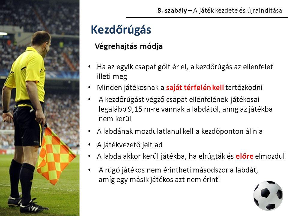 8. szabály – A játék kezdete és újraindítása Kezdőrúgás Végrehajtás módja Ha az egyik csapat gólt ér el, a kezdőrúgás az ellenfelet illeti meg Minden