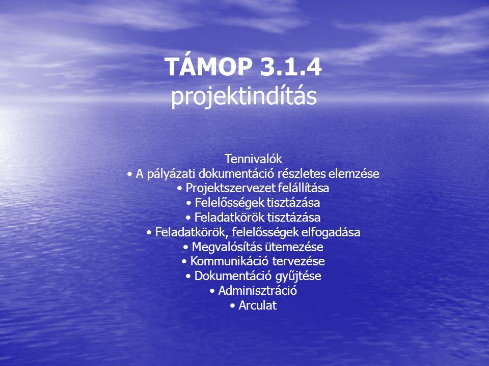 TÁMOP 3.1.4 projektindítás Tennivalók A pályázati dokumentáció részletes elemzése Projektszervezet felállítása Felelősségek tisztázása Feladatkörök ti