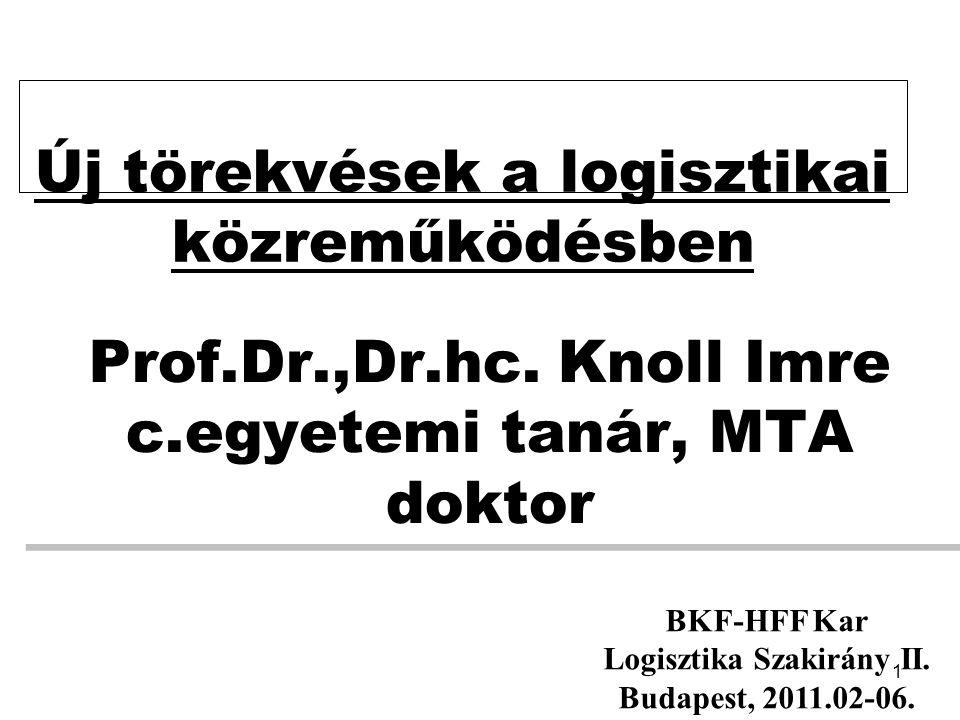 1 Prof.Dr.,Dr.hc. Knoll Imre c.egyetemi tanár, MTA doktor Új törekvések a logisztikai közreműködésben BKF-HFF Kar Logisztika Szakirány II. Budapest, 2