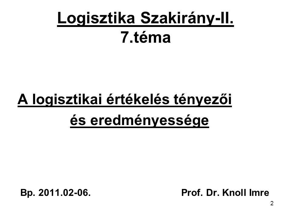 2 Logisztika Szakirány-II. 7.téma A logisztikai értékelés tényezői és eredményessége Bp. 2011.02-06. Prof. Dr. Knoll Imre