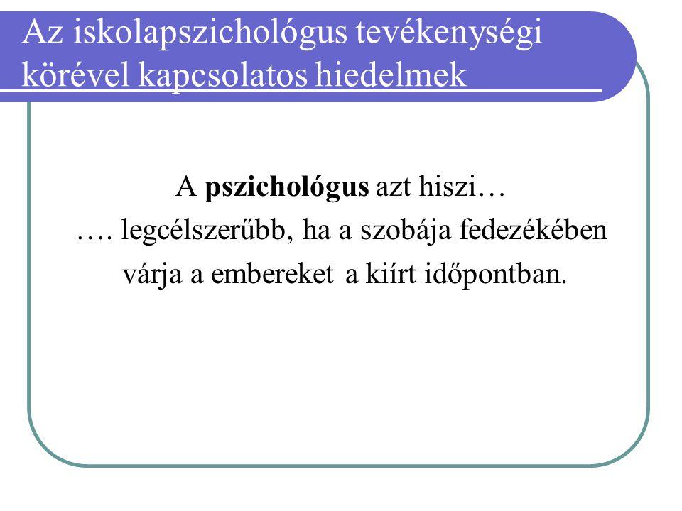 Az iskolapszichológus tevékenységi körével kapcsolatos hiedelmek A pszichológus azt hiszi… …. legcélszerűbb, ha a szobája fedezékében várja a embereke