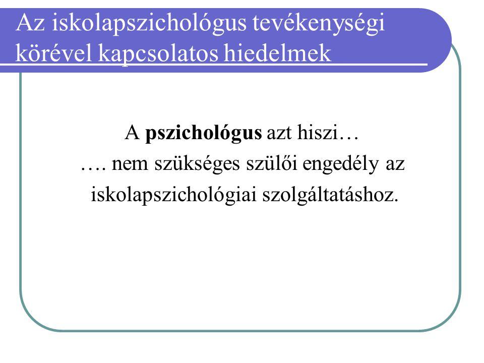 Az iskolapszichológus tevékenységi körével kapcsolatos hiedelmek A pszichológus azt hiszi… …. nem szükséges szülői engedély az iskolapszichológiai szo