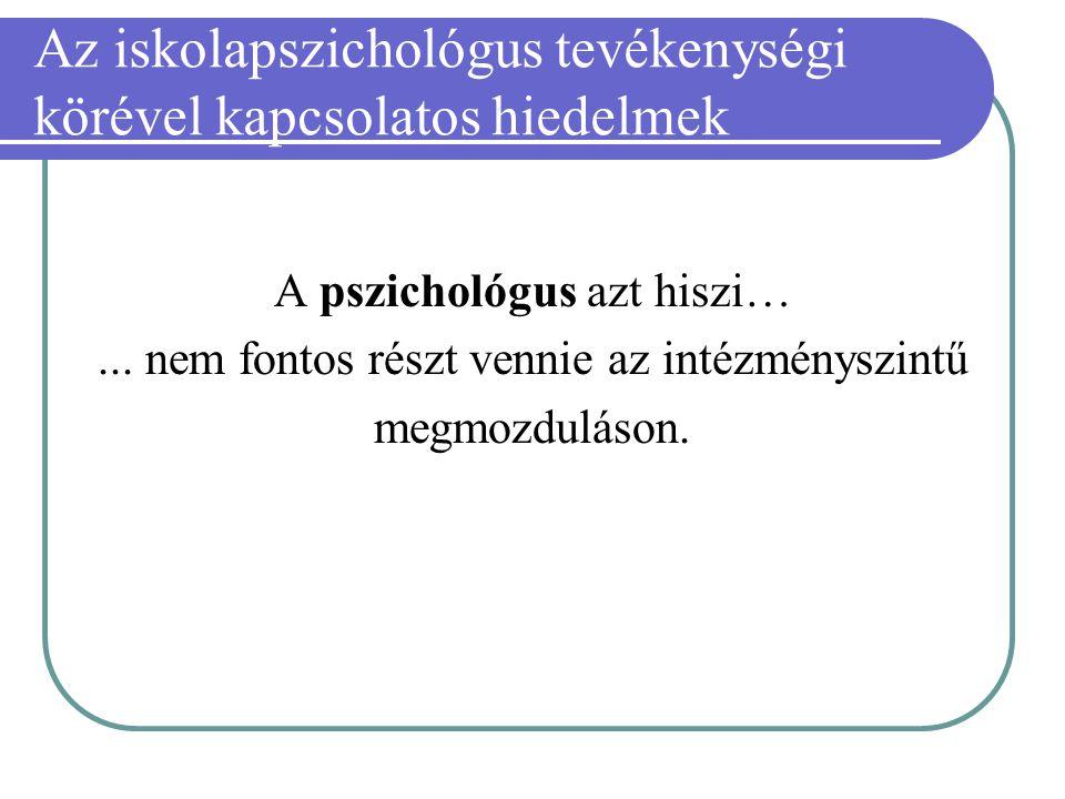 Az iskolapszichológus tevékenységi körével kapcsolatos hiedelmek A pszichológus azt hiszi…... nem fontos részt vennie az intézményszintű megmozduláson